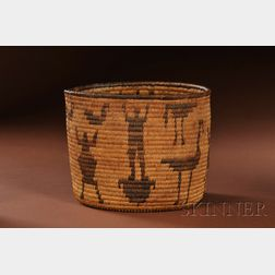 Southwest Pictorial Coiled Basketry Bowl