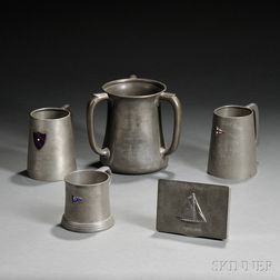 Five Pewter Trophies from New York Yacht Clubs