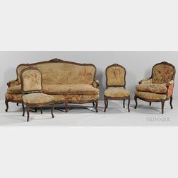 Louis XV-style Fruitwood Settee and Three Chairs