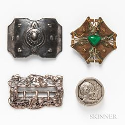 Small Viennese Silver Box and Three Buckles