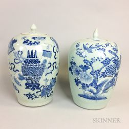 Two Chinese Porcelain Blue and White Ginger Jars