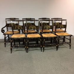 Set of Eight Painted and Stenciled Hitchcock Chairs