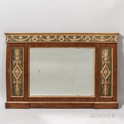Neoclassical-style Mahogany-veneered and Parcel-gilt Mirror