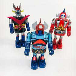 Three Tin Litho Japanese Wind-up Robots