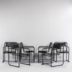 Six Bruno Pollak by PEL Steel Furniture Stacking Chairs
