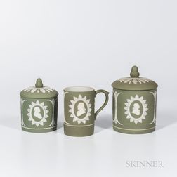 Three Wedgwood Light Green Jasper Dip Washington/Franklin Items