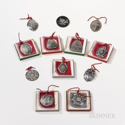 """Set of Towle Sterling Silver """"Twelve Days of Christmas"""" Ornaments"""