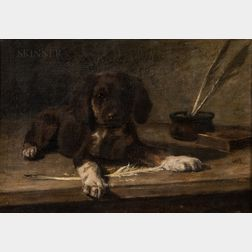 Franklin Whiting Rogers (American, 1854-1917)      Portrait of a Puppy with a Quill