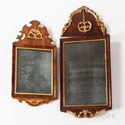 Two Walnut Veneer and Parcel-gilt Mirrors