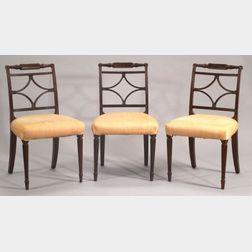 Set of Three Federal Mahogany and Mahogany Veneer Side Chairs