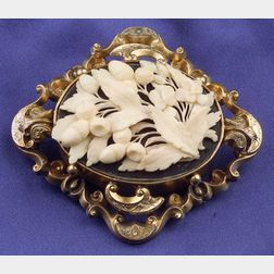 Victorian Gilt Silver and Ivory Pendant/Brooch