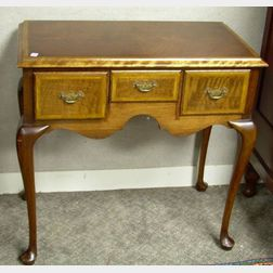 Queen Anne Style Inlaid Walnut and Burl Veneer Dressing Table.