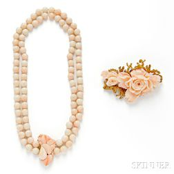 Two Angelskin Coral Jewelry Items