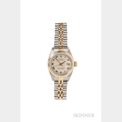 Lady's Gold and Stainless Steel Oyster Perpetual Datejust Wristwatch, Rolex