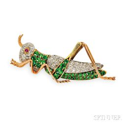 Edwardian Demantoid Garnet and Diamond Grasshopper Brooch