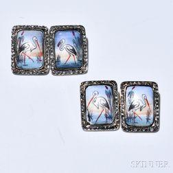 Enamel Cuff Links, each depicting a stork, framed by rose-cut diamonds.