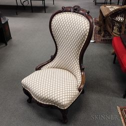 Rococo Revival Carved and Upholstered Walnut Slipper Chair