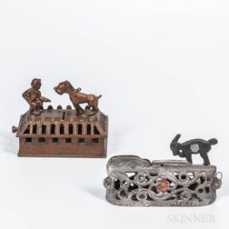 Two Cast Iron Animal Mechanical Banks