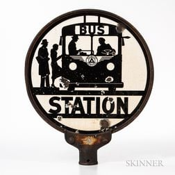 "Enamel and Steel ""Bus Station"" Sign"