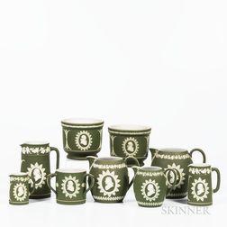 Nine Wedgwood Olive Green Jasper Dip Washington/Franklin Items