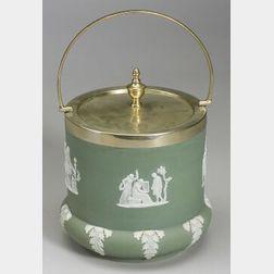 Wedgwood Green Jasper Dip Biscuit Jar and Cover
