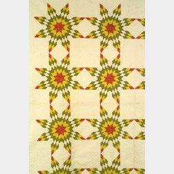 Pieced Cotton Harvest Sun Pattern Quilt