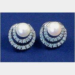 14kt White Gold, Cultured Pearl, and Diamond Earrings