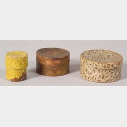 Three Small Round Wallpaper Covered Boxes