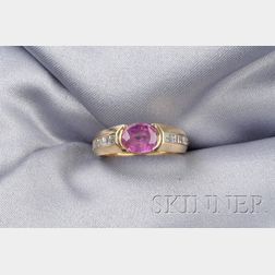 18kt Gold, Pink Sapphire, and Diamond Ring, Adler