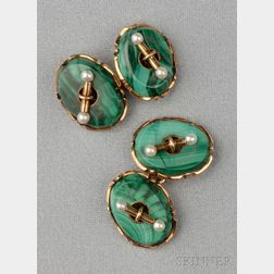 Antique 14kt Gold and Malachite Cuff Links