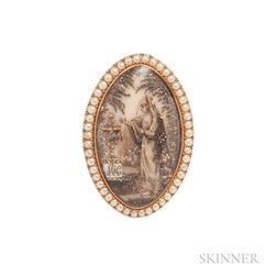 Georgian Gold and Hairwork Mourning Ring