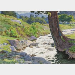 Harold Broadfield Warren  (American, 1859-1934)      Lot of Two Landscapes: Landscape with Stream