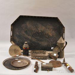 Eleven Assorted Tin and Metal Accessories