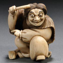 Ivory Netsuke of a Kabuki Actor