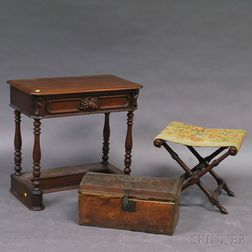 Victorian Mahogany One-drawer Stand, a Studded Leather Dome-top Trunk, and a   Needlepoint-upholstered Luggage Stand