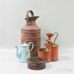 Five Painted Metal Items