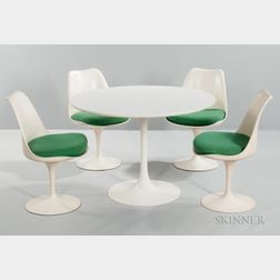 Saarinen-style Tulip Table and Four BR51 Chairs