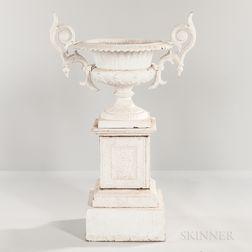White-painted Cast Iron Garden Urn