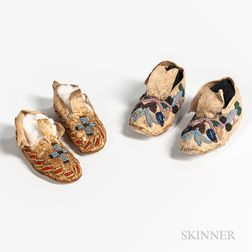 Two Pairs of Plains Child's Moccasins