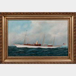 Attributed to Antonio Nicolo Gasparo Jacobsen (Danish/American, 1850-1921)      American Steam Yacht