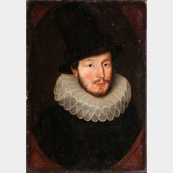 Dutch School, 17th Century      Bust-length Portrait of a Man in a Ruff and Tall Hat, in a Painted Oval