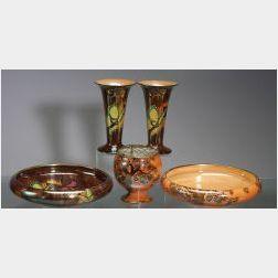 Five Wilkinson Lustre Ware Items