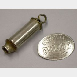"""Silvered Metal """"Special Police"""" Badge and a Siren Whistle"""