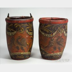 Pair of Painted Leather Fire Buckets