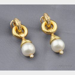 18kt Gold, Cultured Pearl, and Diamond Earpendants, Elizabeth Locke