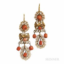 Antique Gold Filigree and Coral Earrings