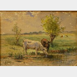 Attributed to Charles Franklin Pierce (American, 1844-1920)      Cows Watering