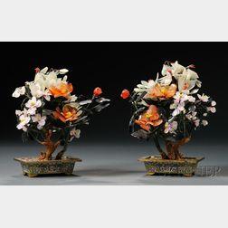 Pair of Jade and Hardstone Flowers in Pots