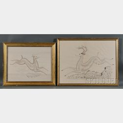 Two Framed Leaping Stag Calligraphic Exercises