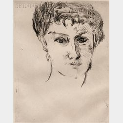 Max Beckmann (German, 1884-1950)      Mink, Frontal, with Elaborate Coiffure
